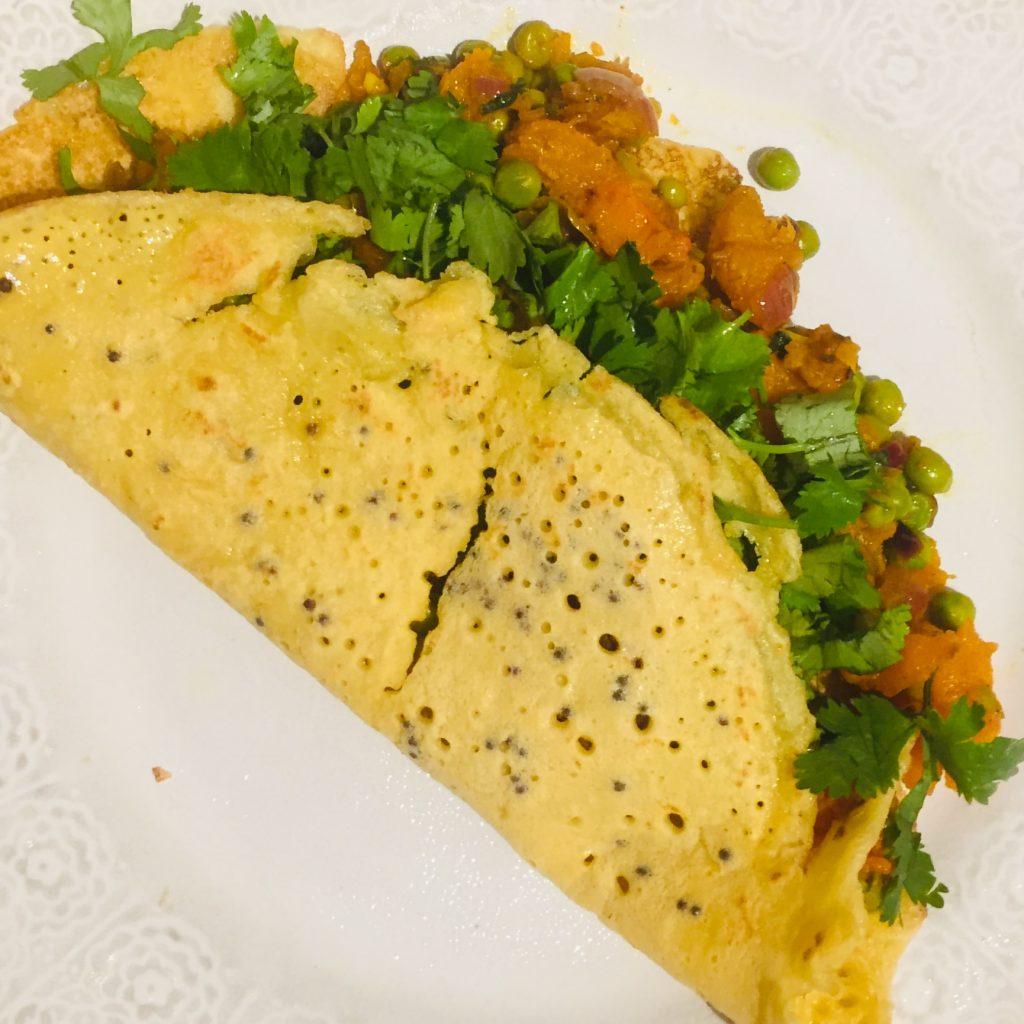 sweet potato and pea dosa