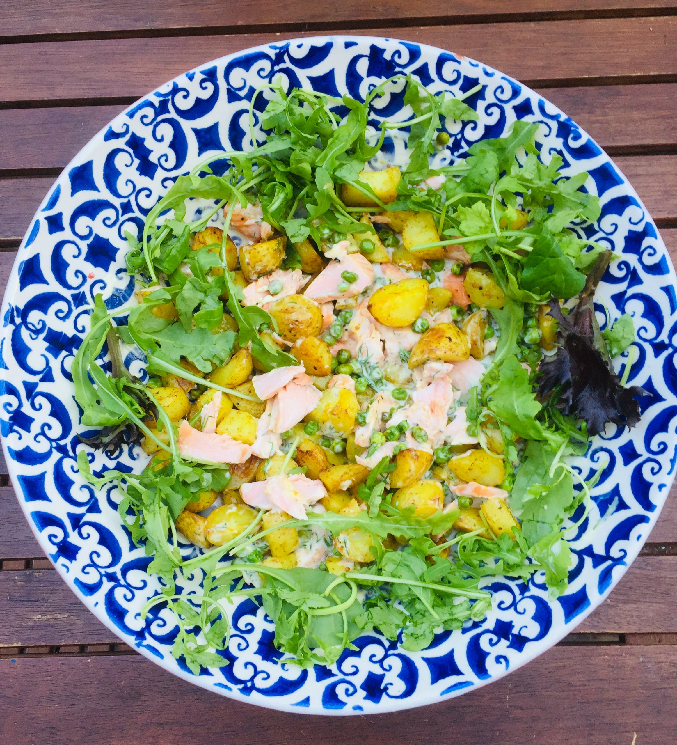 Salmon & pea salad with a creamy dill dressing